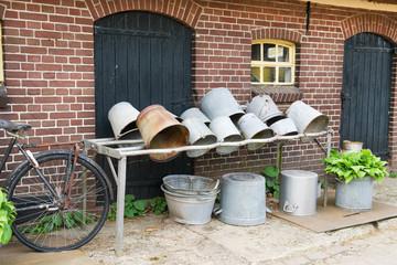 Vintage milk buckets