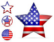 set of america star icon isolated on white background