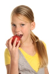 Beautiful Preteen Eating Red Apple