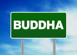 Green Road Sign Buddha