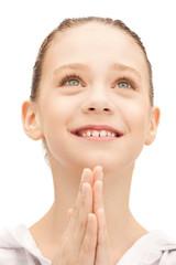 praying teenage girl