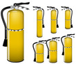set of yellow fire extinguisher isolated on white background