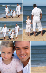 Collage of family at the ocean