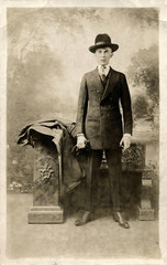 Young Business Man in Suit & Fedora Hat