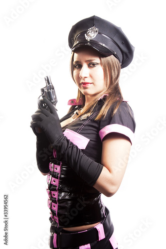 Sexy police woman with gun isolated on white background