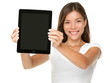 Touchpad woman showing tablet PC