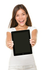 Woman showing tablet pc touchpad screen