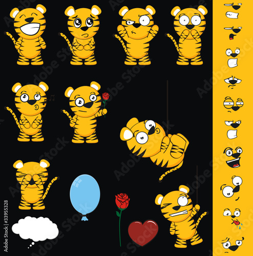 tiger cartoon set01