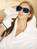 Laser hair removal in professional beauty studio. beauty parlor poster