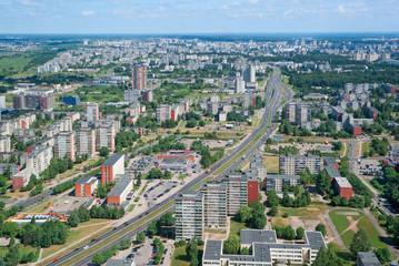 Birdseye view of the Karolinishkes district of Vilnius