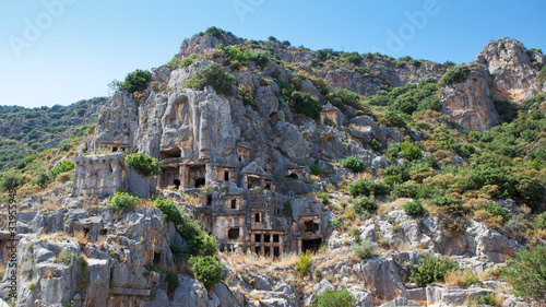 Panorama - Rock tombs in Myra, Demre, Turkey