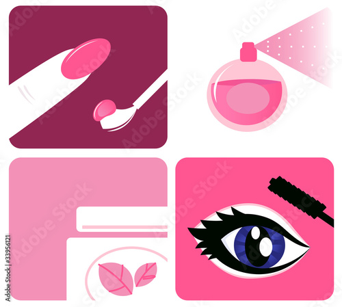 Beauty, cosmetic and makeup icons isolated on white, Vector