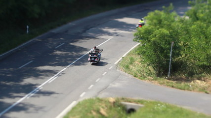 traveling by motorbike -shoot with tilt-shift lens