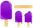 classic violet ice cream bar or ice pop isolated on white