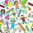 Bambini colori nuvole seamless