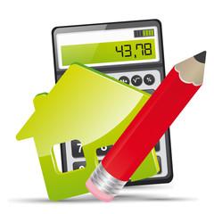 vecteur, maison, calculette et crayon papier