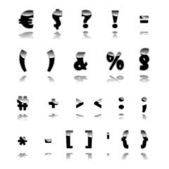 3D Satzzeichen schwarz
