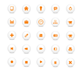 Basic web icons, white with orange buttons series