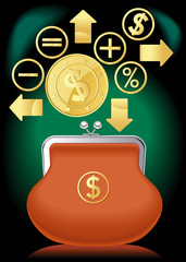purse banking dollar