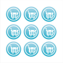 set of 9 blue shopping baskets signs