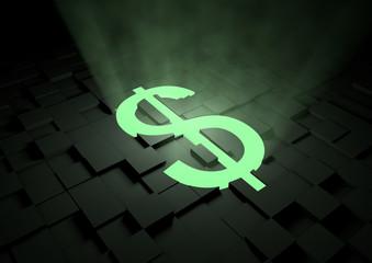 Glowing dollar symbol