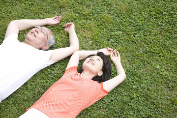 公園の芝生に仰向けに寝転がる老夫婦
