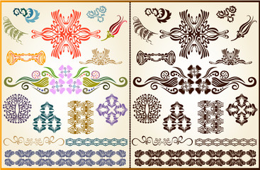 plant flower set style pattern silhouette element