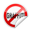 Pegatina señal prohibicion GRAFFITI con reborde