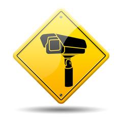 Señal amarilla simbolo camara seguridad