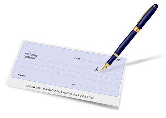 Blank check and pen. Vector illustration.