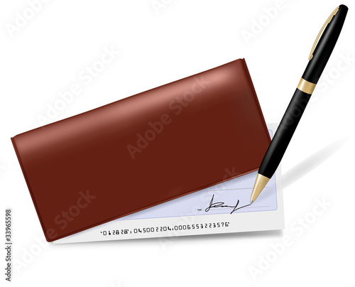 Broun checkbook with check and pen. Vector illustration.