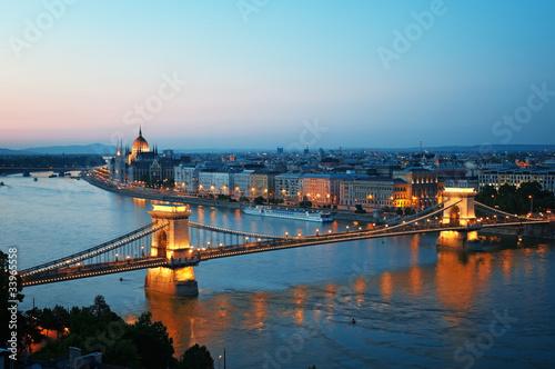 Poster Budapest skyline at night, Hungary.