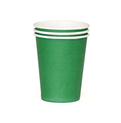 Green disposable cup isolated on a white background