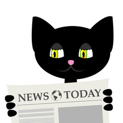 black cat is reading a newspaper