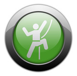"Green Metallic Orb Button ""Rock Climbing"""