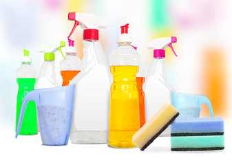 Colorful unlabeleled cleaning products
