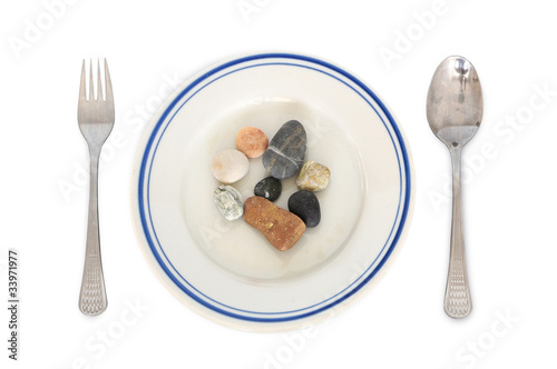 Stones meal - concept of eating disorder, digestion problems