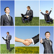 Business collage young successful man