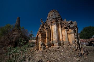 Ancient pagodas at Shwe Inn Taing Paya near Inle lake, Shan stat