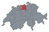 Mapa Švýcarsko, Aargau zvýrazněny