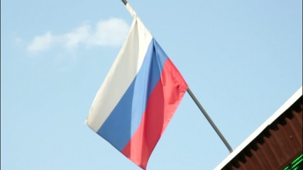 Russian flag blow about
