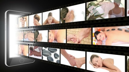 Montage of women enjoying the spa