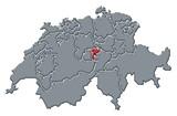 Mapa Švýcarsko, Nidwalden zvýrazněny
