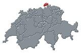 Mapa Švýcarsko, Schaffhausen zvýrazněny