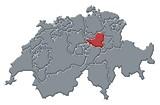 Mapa Švýcarsko, Schwyz zvýrazněny