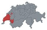 Mapa Švýcarsko, Vaud zvýrazněny