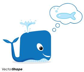 Happy cartoon blue whale thinking of fish