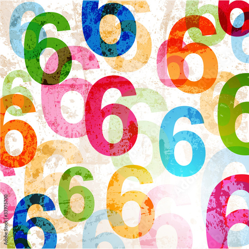 Abstract background with colorful rainbow numbers for design - 33975700