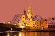 Leinwanddruck Bild - Winter in Regensburg (UNESCO World Heritage)