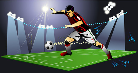 soccer field and Soccer player
